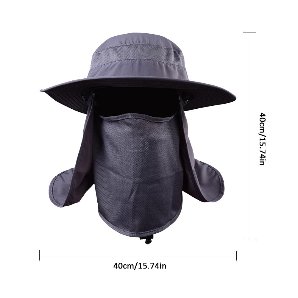 8961a46c3 US $9.84 33% OFF|Outdoor Sport Hiking Camping Hat UV Protection Wide Brim  Bucket Hat with Removable Neck Flap Face Cover Mask Fishing Cap-in Fishing  ...