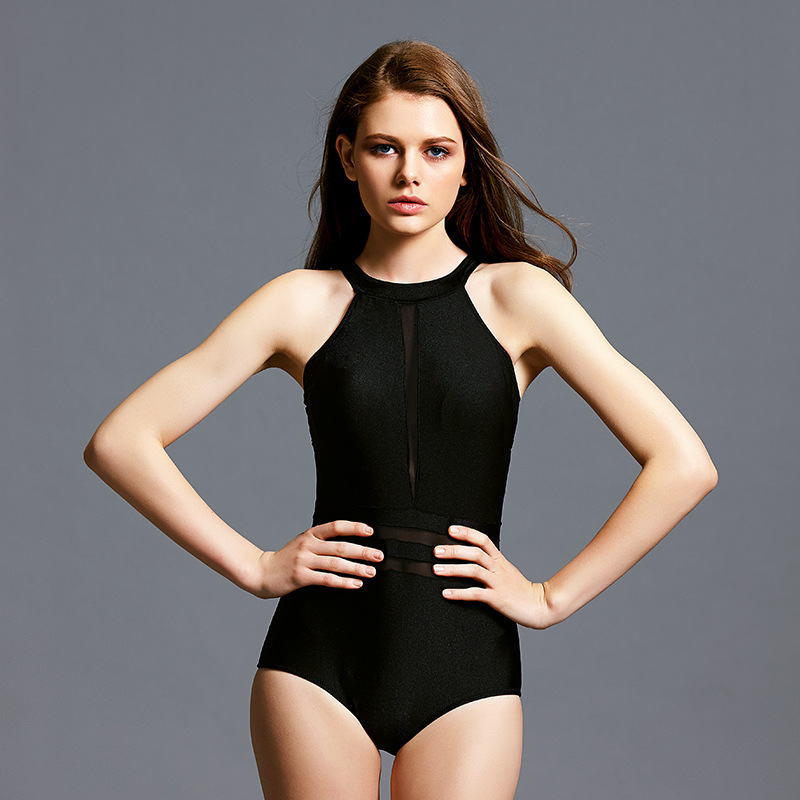 Beach Sports One-piece Swimsuit Woman Simple Pure Color Comfortable Spa Sexy Splice Triangle Piece Swimsuit competition racing one piece swimsuit