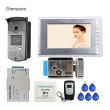 Free Shipping New Apartment 7″ Video Intercom Door Phone System + RFID Access Door Camera + Electric Control Door Lock In Stock