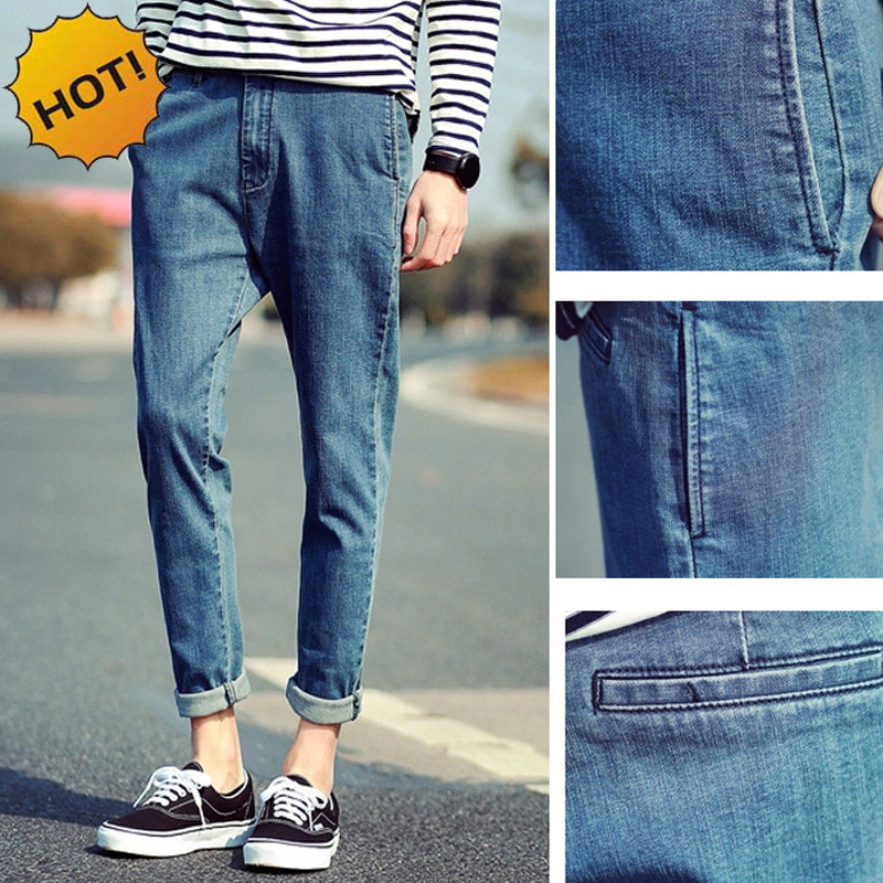 Fashion Retro leg Harem Pants Men Denim Overalls Slim Fit Micro Stretch Casual Baggy Ankle Length Pants Teenagers Bottoms 28-34