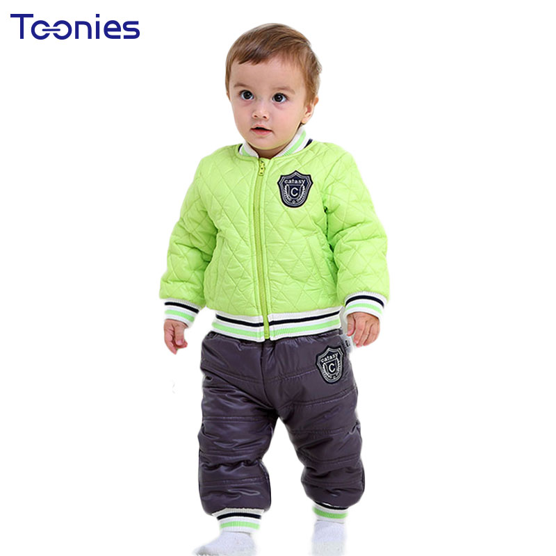 Baby Pants Suit 2018 Winter Toddler Clothes High Quality Thick Warm Kid Clothing Set Striped Badge Print Sportswear Costume 2pcs 2017 mens winter stretch thicken jeans warm fleece high quality denim biker jean pants brand thick trousers for man size 28 40
