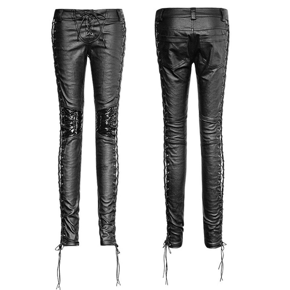 PUNK RAVE Pantaloni Delle Donne Punk di Personalità di Modo di Cuoio Dell'unità di elaborazione Nero Ghette Sexy Hip Hop Streetwear Pantaloni Scarni - 4