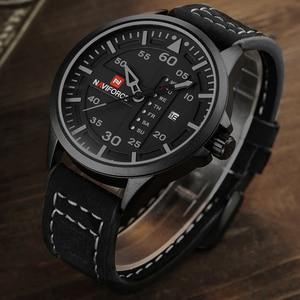 Image 3 - NAVIFORCE Luxury Brand Men Army Military Watches Mens Quartz Date Clock Man Leather Strap Sports Wrist Watch Relogio Masculino