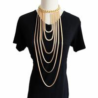 Fashion Statement Thick Choker Gold Plated Multi Layer Long Tassel Chain Pendant Body Belly Necklace Bijoux