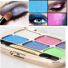 6 Colors Shimmer Eyeshadow Eye Shadow Palette & Makeup Cosmetic Brush Set