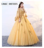 Gold Quinceanera Dresses Lace Puffy Tulle With Appliques Beads Ball Gown Sweet 16 Dresses Vestidos De 15 Anos