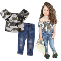 Mädchen Kleidung Set Camouflage Raglanärmel Top T-shirt + Jeans 2 stücke Mädchen Getragen lange cowboy hosen Kleidung mode Anzug größe 1-7Y