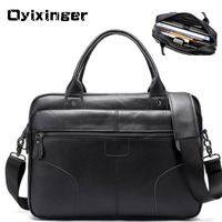 Men's Leather Laptop Briefcases Bags For Men Genuine Leather Briefcase Male Tote Business Bag A4 Folder Messenger Bags Sac Homme