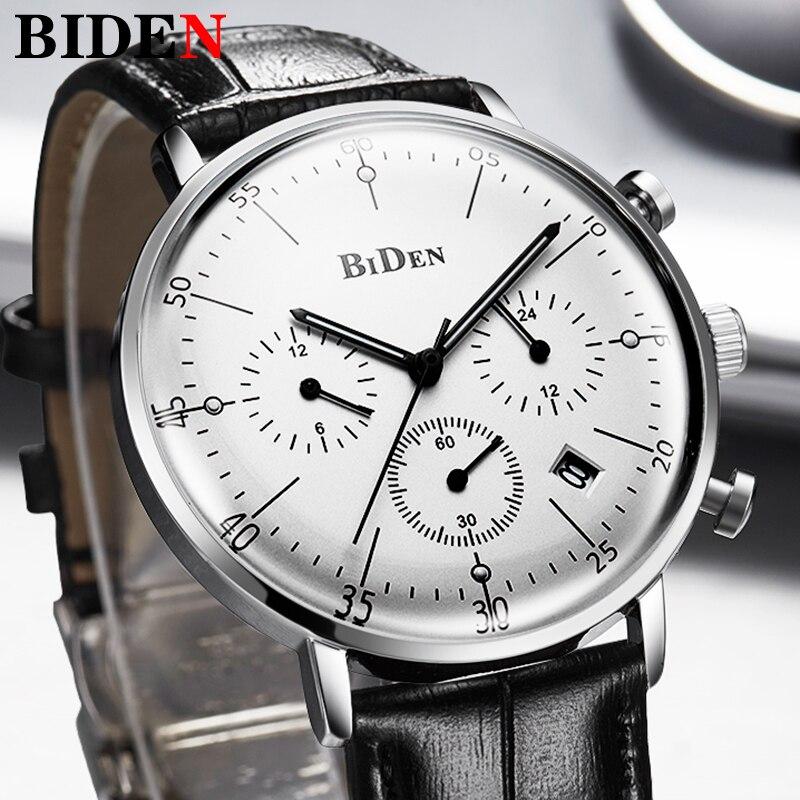 Biden Luxury Watch Men Top Brand Leather Strap Chronograph Waterproof Sports Quartz Wrist Watch Mens Fashion Business Male Clock