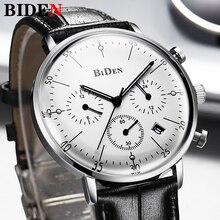 Biden relógio de luxo masculino, pulseira de couro, cronômetro, esportivo, à prova dágua, quartzo, relógio de pulso, moda masculina