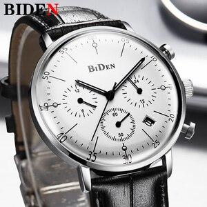 Image 1 - Biden 高級時計の男性トップブランドレザーストラップクロノグラフ防水スポーツクォーツ腕時計メンズファッションビジネス男性時計