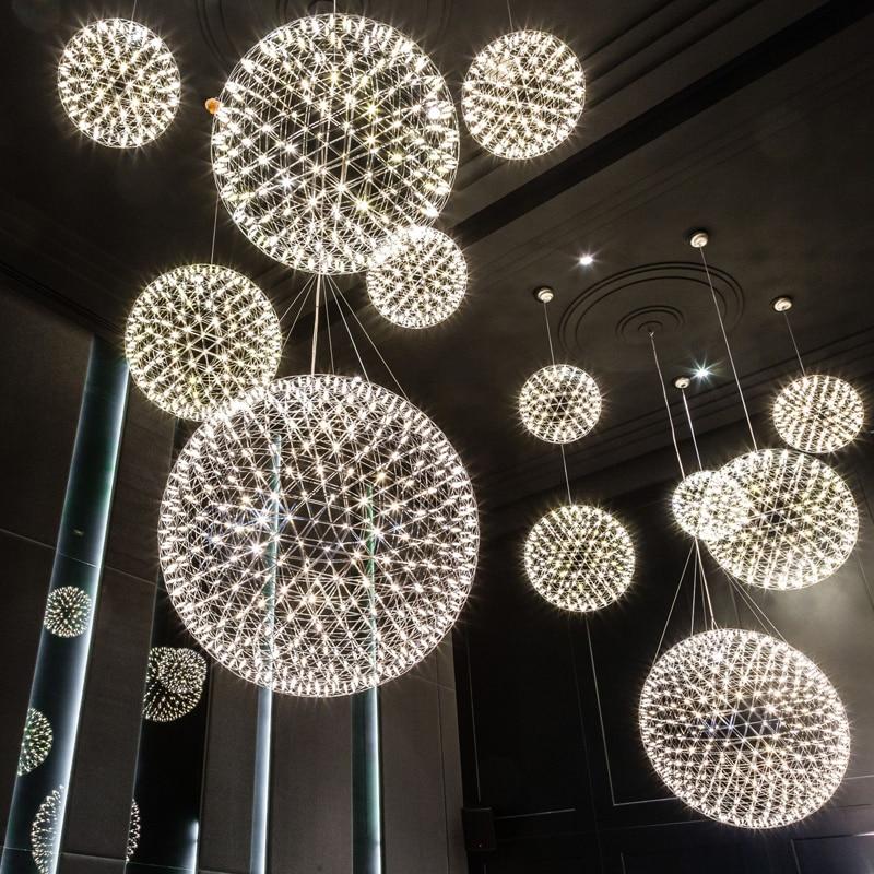 Modern brief Loft spark ball LED Pendant Light fixture Firework Ball stainless steel pendant Lamps home deco lighting 110-240V