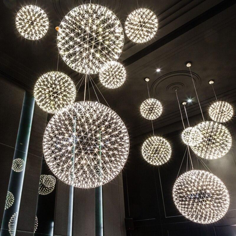 Moderne bref Loft spark ball pendentif LED luminaire feu d'artifice boule en acier inoxydable lampes suspendues maison déco éclairage 110-240 V