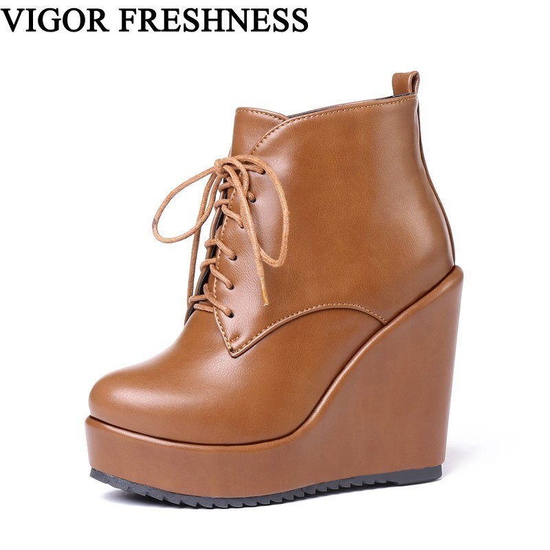 VIGOR FRESHNESS Women Shoes Ankle Boots Snow Winter Shoes Woman Platform Boots Fur  Autumn High Wedges Heels Shoes Spring MY39