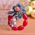Coral vermelho de pedra de prata folhas flor buquê de pingente de pérola azul broches