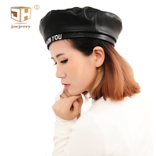 JOEJERRY Black Leather Beret Hat Embroidery Beret Flat Cap Boina Feminina Letter Hats for Women Girls