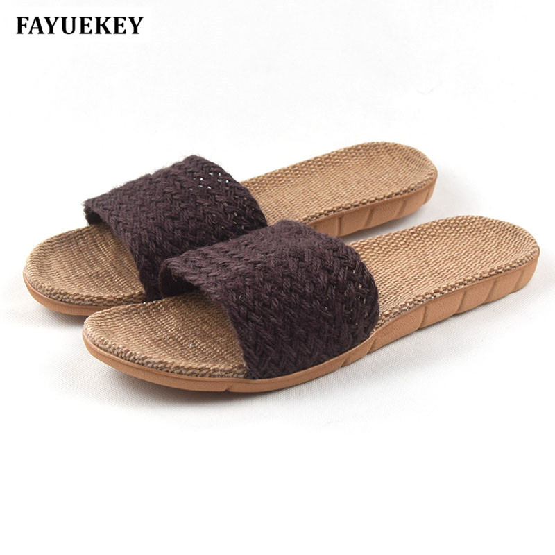 FAYUEKEY Fashion Summer Home Linen Non-slip Breathable Slippers Men Indoor\Floor Beach Boys Open-Toed Slides Slippers Shoes fayuekey 2018 new fashion summer home linen non slip breathable slippers men indoor floor outdoor beach boys flat slides shoes
