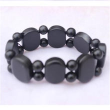 100% Real Natural Bianshi Black Stone Bracelet Unisex Charm Wrap Carve Bracelets Bangle Jewelry For Women Men Fashion Jewelry(China)