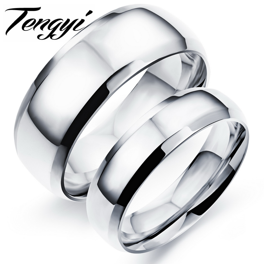 Shiny Fashion Polish Stainless Steel Finger font b Ring b font Silver Color font b Rings