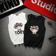 Tide brand Mens T shirt sleeveless tshirt of the trend sleeves Hong Kong style hip-hop sports Slim on clothes