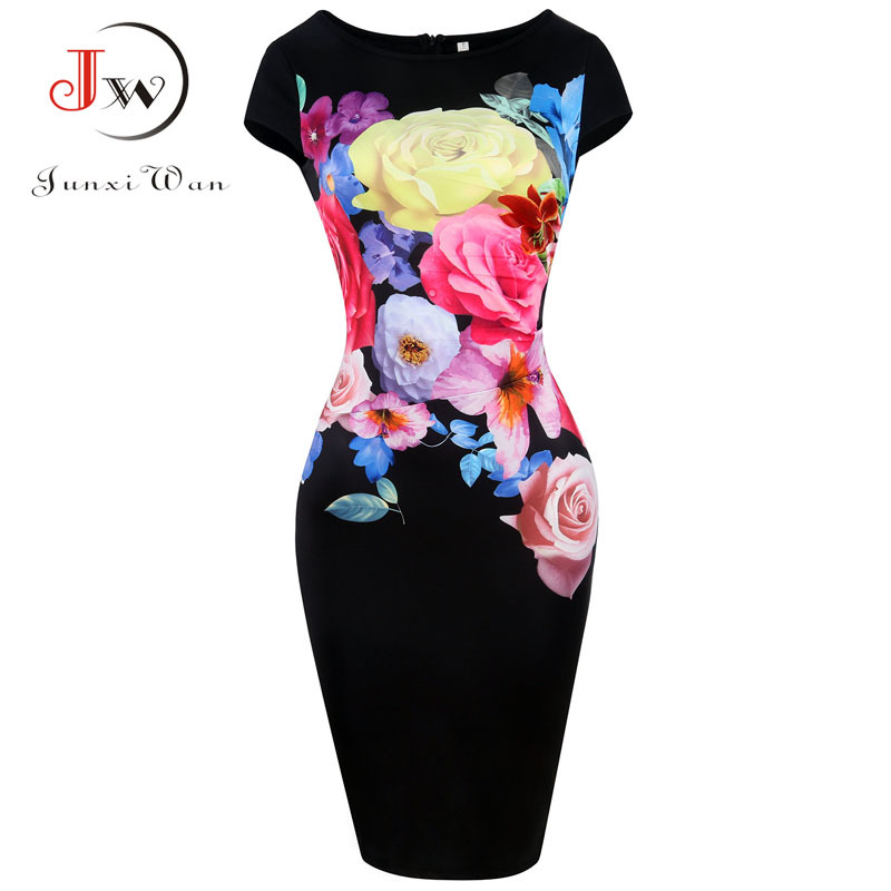Sexy Bodycon Dress Women Summer Fashion Tight Casual Party Bandage Dresses Knee Length Pencil Dress Floral Print plus size 5XL