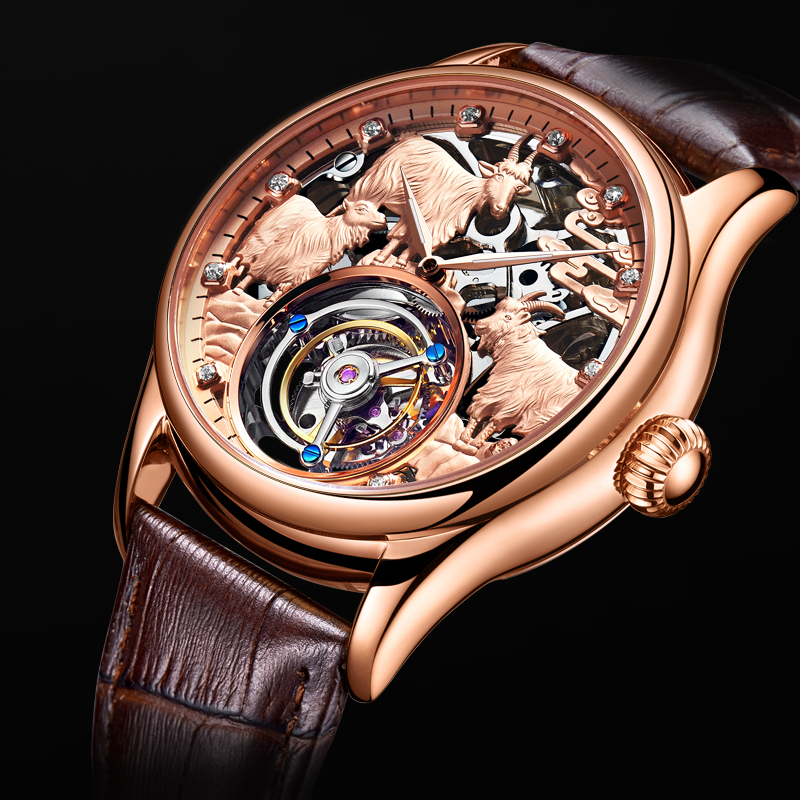 Original Sheep Watch 3D Embossed Manual Tourbillon Men 39 s Automatic Mechanical Men 39 s Hollow Waterproof Watch Relogio Masculino in Mechanical Watches from Watches