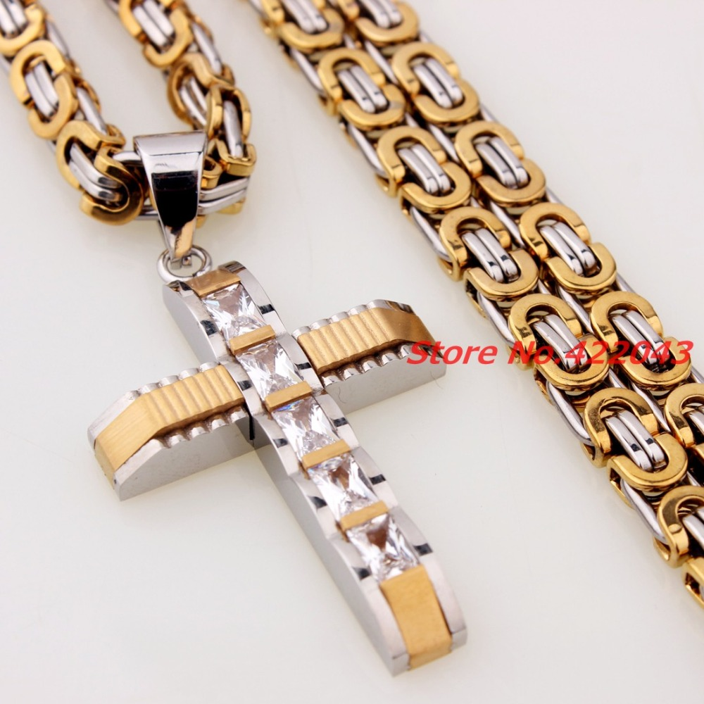 948730439a15 Moda caliente para hombre para mujer cadena 6mm plata oro bizantina Acero  inoxidable Diamantes con piedras falsas Cruz diseño colgante collar de  joyería