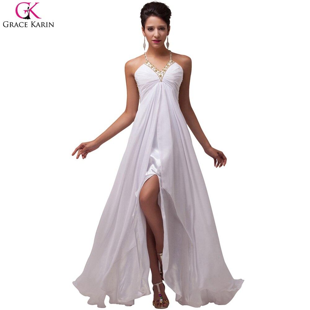 Grace karin white evening dresses sexy split long prom for Cheap wedding dresses az