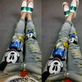 Europe spring 2016 fashion personality cartoon hole slim slim jeans all-match feet female