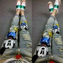 Европа весна 2016 моды личности мультфильм отверстие тонкий тонкие джинсы все матч ноги женщины