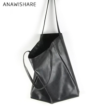 ANAWISHARE Women Leather Handbags Black Large Shoulder Bags Female Ladies Tote Shopping Bags High Quality Bolsa Feminina
