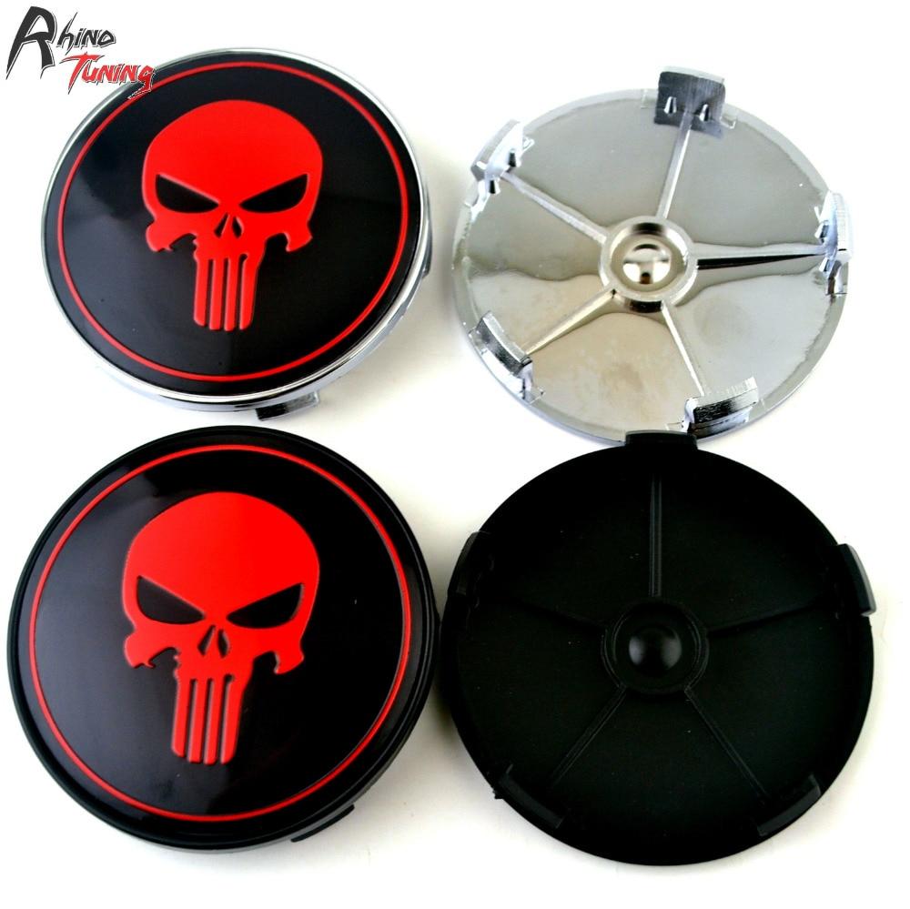 Rhino Tuning 69mm 4PC The Punisher Car Wheel Center Cap Emblem Red Skull Hub Cap For E60 E61 E92 E71 634