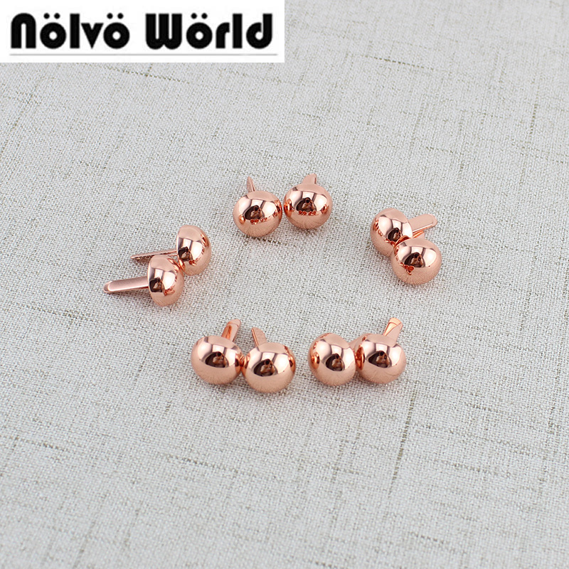 20pcs 1cm Rose Gold Round brads,Leather Craft Wallet Nail Bottom Rivets ,Bags hats shoes belts embellishments studs accessories