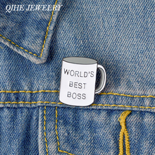 QIHE JEWELRY Boss Mug Pins Best Boss Ever Enamel Pins Coffee Cup Lapel Pins Brooches for Men Women Boss's Day Gift