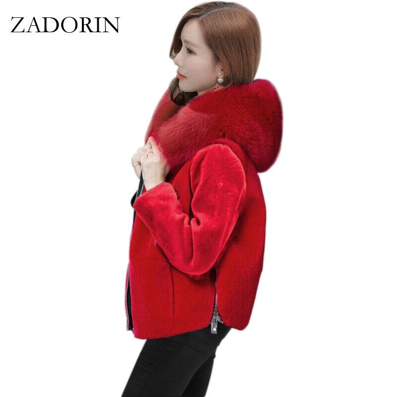 ZADORIN 2019 Winter Outerwear Women Short Faux Fur Coat Hooded Long Sleeve Black Red Casual Faux Fur Jacket Jaqueta Feminina 3XL