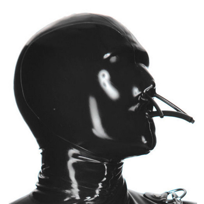 Full Cover Latex Hood with Fixed Hollow Mouth and Nose Tube Rubber Mask ClubWear bdsm collar