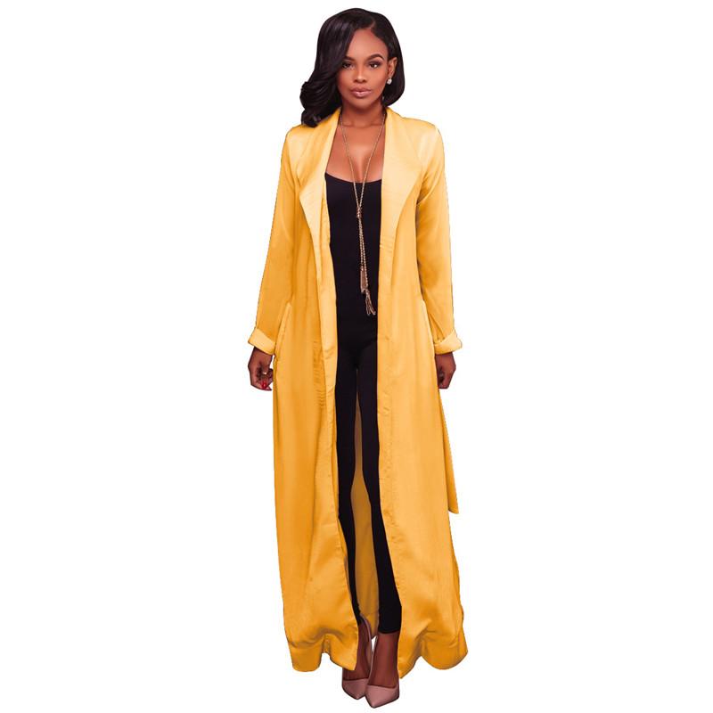 autumn chiffon sleeve long trench outwear-2