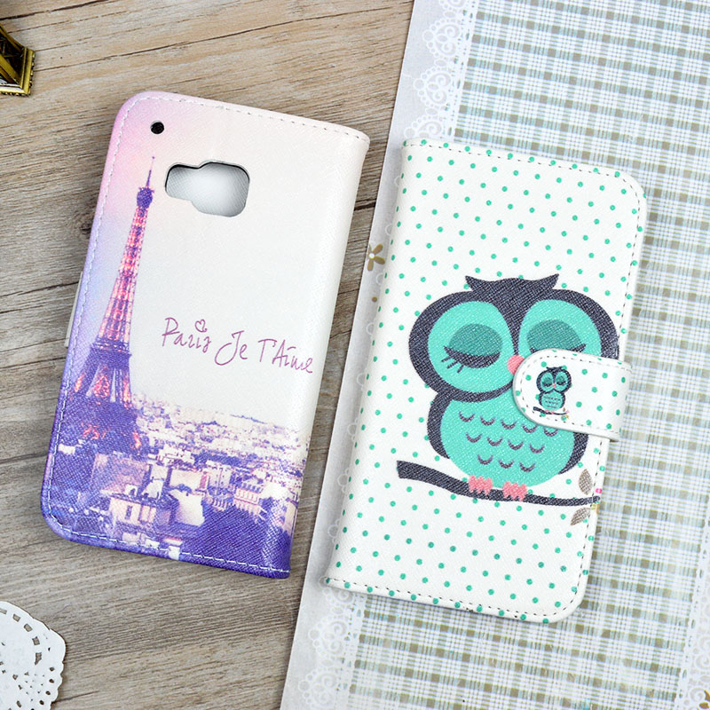 For font b HTC b font One M9 Printing Cute pattern Leather Case Wallet Case with