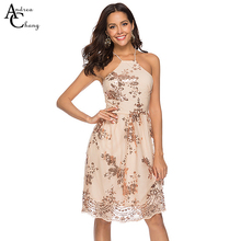 5555e4a9618 ANDREA CHANG Spring summer woman floral pattern sequin beading knee length  dress