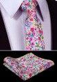 "Tmf204k8 rosa Aqua Yellow Floral 3.4 "" 100% algodón de la boda tejido Jacquard hombres corbata del lazo Pocket Square pañuelo Set Suit"