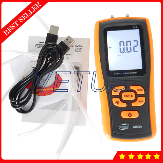 GM520 Digital Pressure Gauge Price with Measuring range 0~350kPa lcd pressure gauge differential pressure meter digital manometer measuring range 0 100hpa manometro temperature compensation