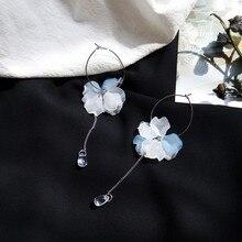 Matte temperament petal earrings transparent simple Korean fashion female red head long retro