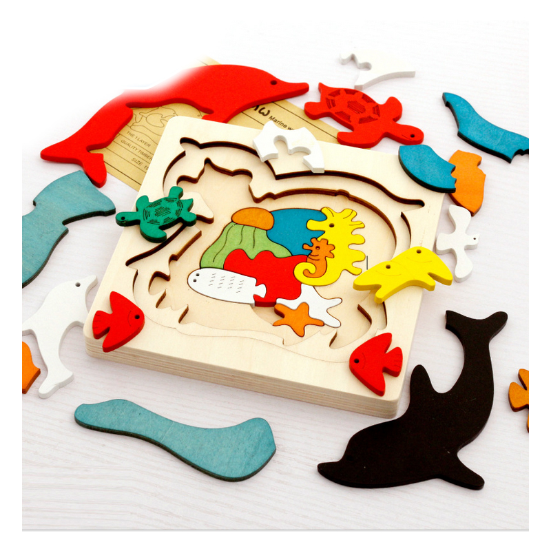 N027 Creative Diy Multilayer Children Assembling Jigsaw Puzzle Education Learning Tools Baby Kids Cartoon Wooden 3d Puzzles Toys