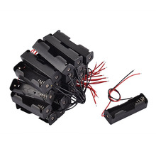 80pcs/lot MasterFire New Black Plastic 1 x AA Battery 3.7V Clip Storage Holder Box Case Cover With Wire Lead
