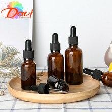 Botella vacía con cuentagotas, ámbar, vidrio líquido para aromaterapia, marrón, 5-50ml, botellas de pipeta de masaje, rellenables