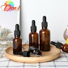 Botella cuentagotas vacía de vidrio ámbar para aceites esenciales, botella marrón para aromaterapia líquida de 5-50ml para pipeta de masaje, botellas rellenables