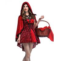 ISHINE Gothic Little Red Riding Hood Nightclub Queen Costume Cosplay Costume Stage Dress Halloween Holiday Party Lace Shawl