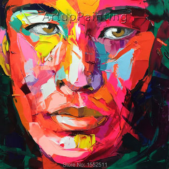 Palette knife painting portrait Palette knife Face Oil painting Impasto figure on canvas Hand painted Francoise Nielly 16-13