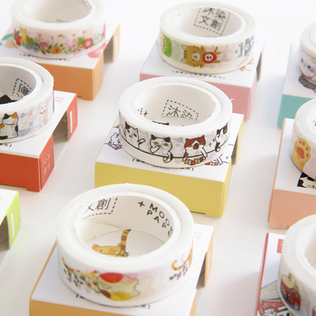 MIRUI Creative Lovely Hand-Painted DIY Cartoon Cats Tapes Photo Album Diary Decorative Tapes Student Stationery Gifts Supplies image