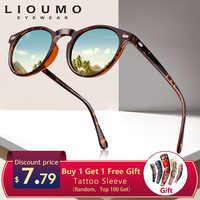 Lioumo design unisex ultraleve tr90 polarizado óculos de sol das mulheres dos homens condução redonda rosa tons vintage óculos de sol gafas de sol